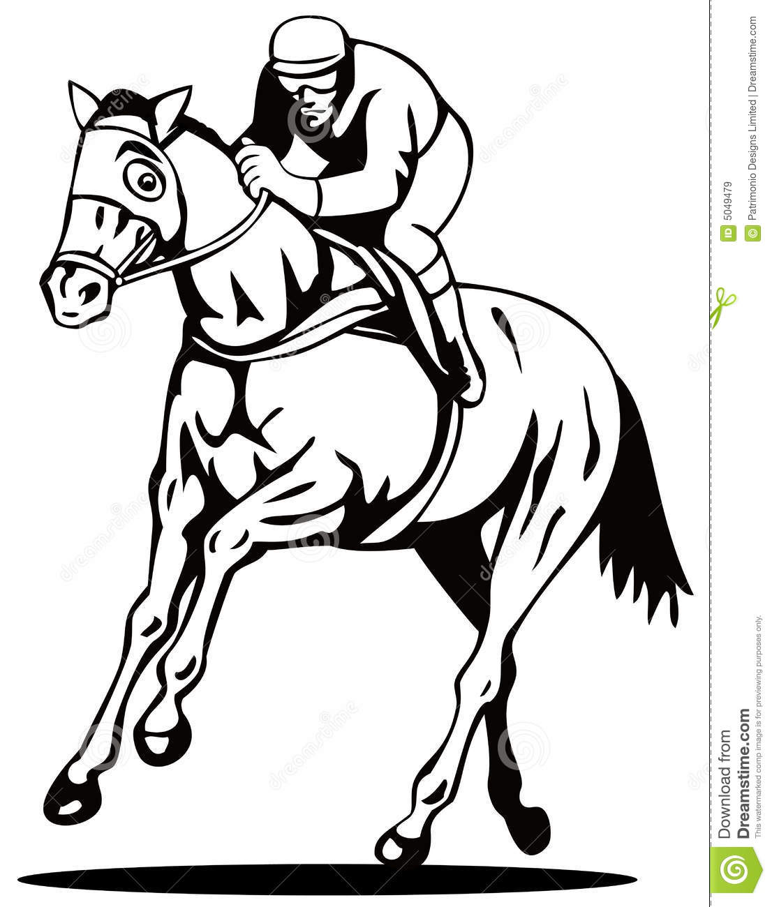 Horse And Jockey On A Winning Stock Vector Image 5049479
