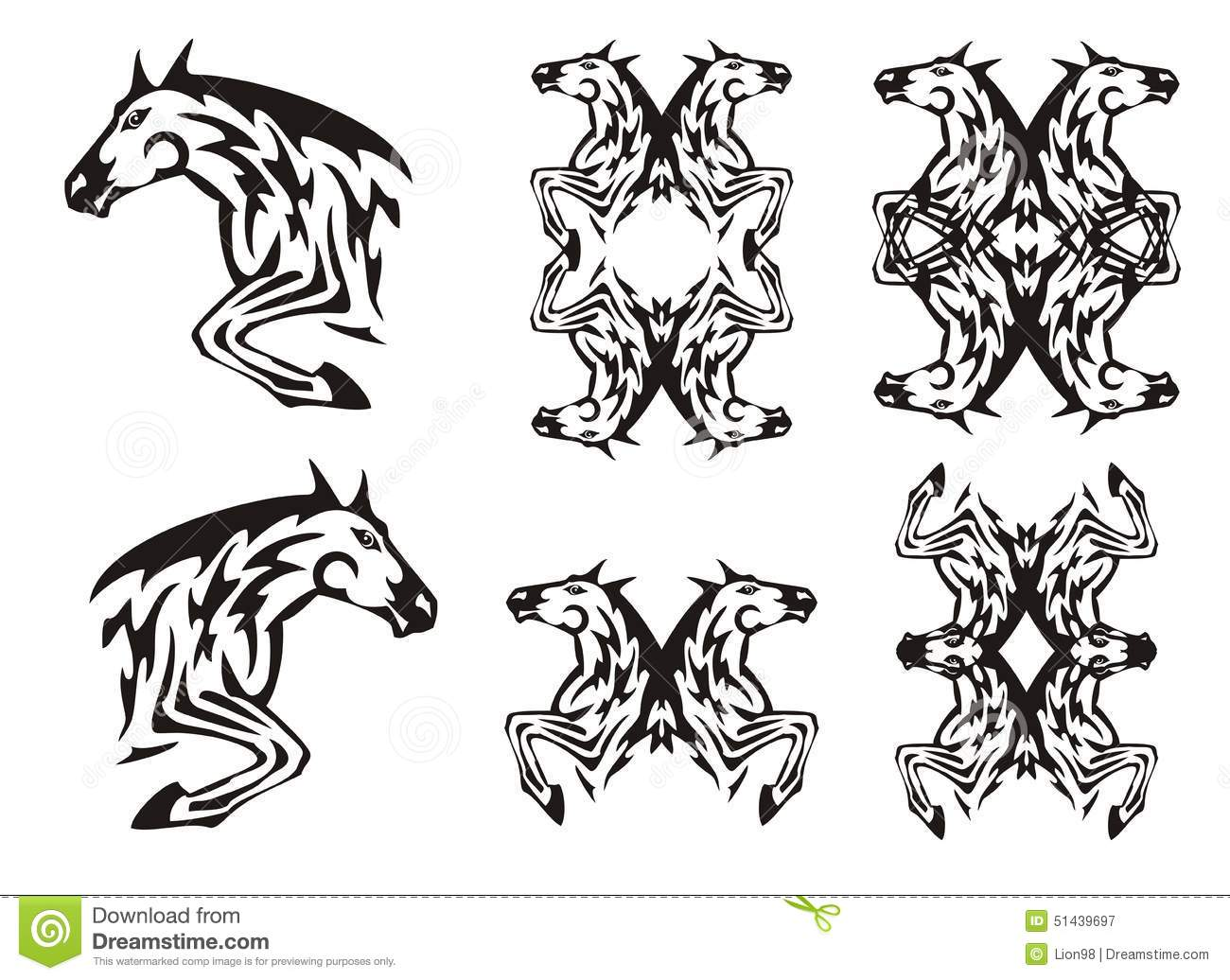 Horse In A Jump And Horse Frames In Tribal Style Stock Vector ...