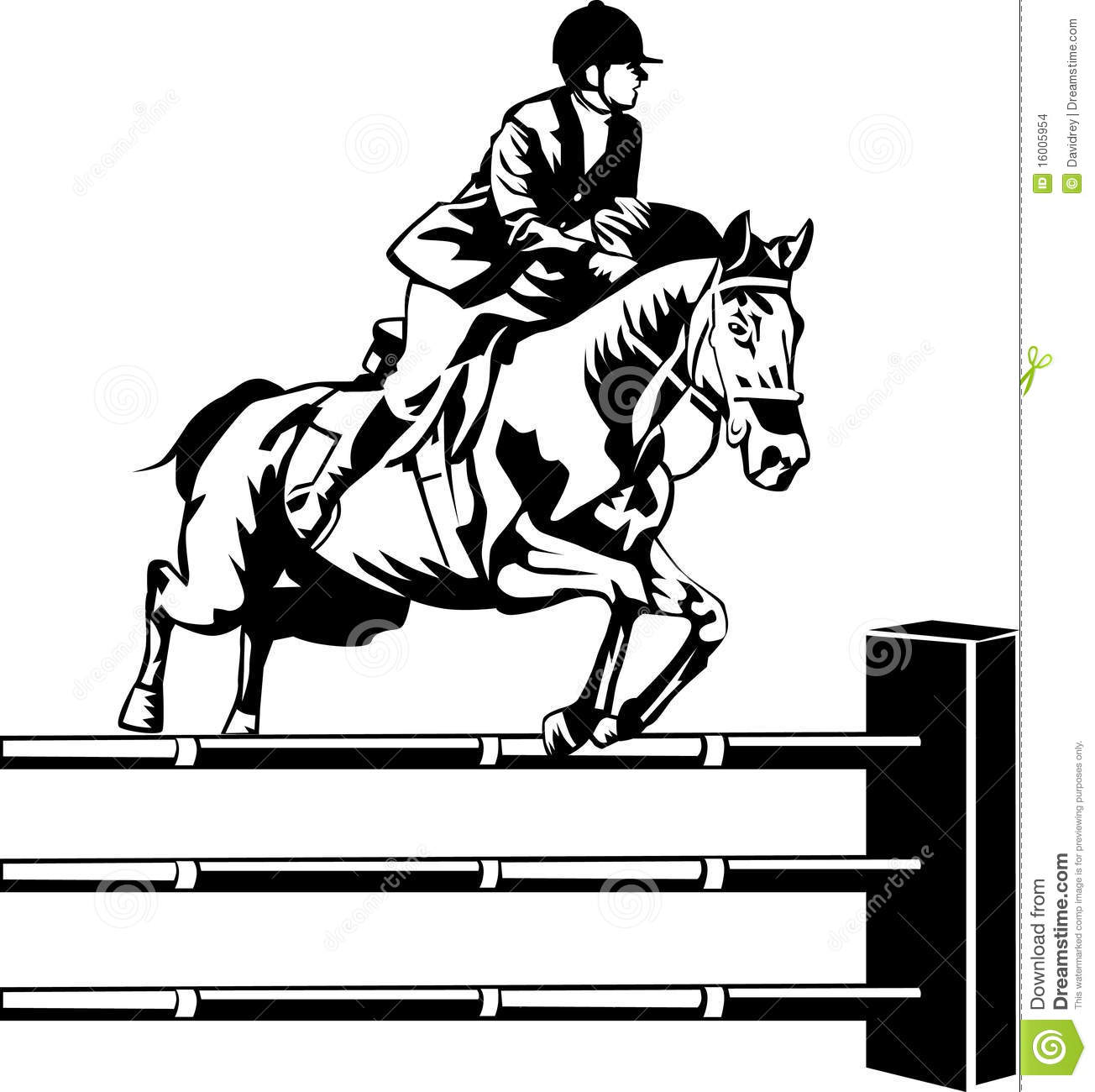 Horse In A Jumping Competition Stock Vector Illustration