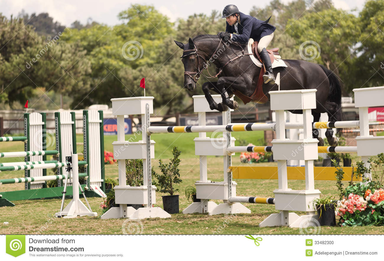 Horse Jumping Competition Del Mar California Editorial