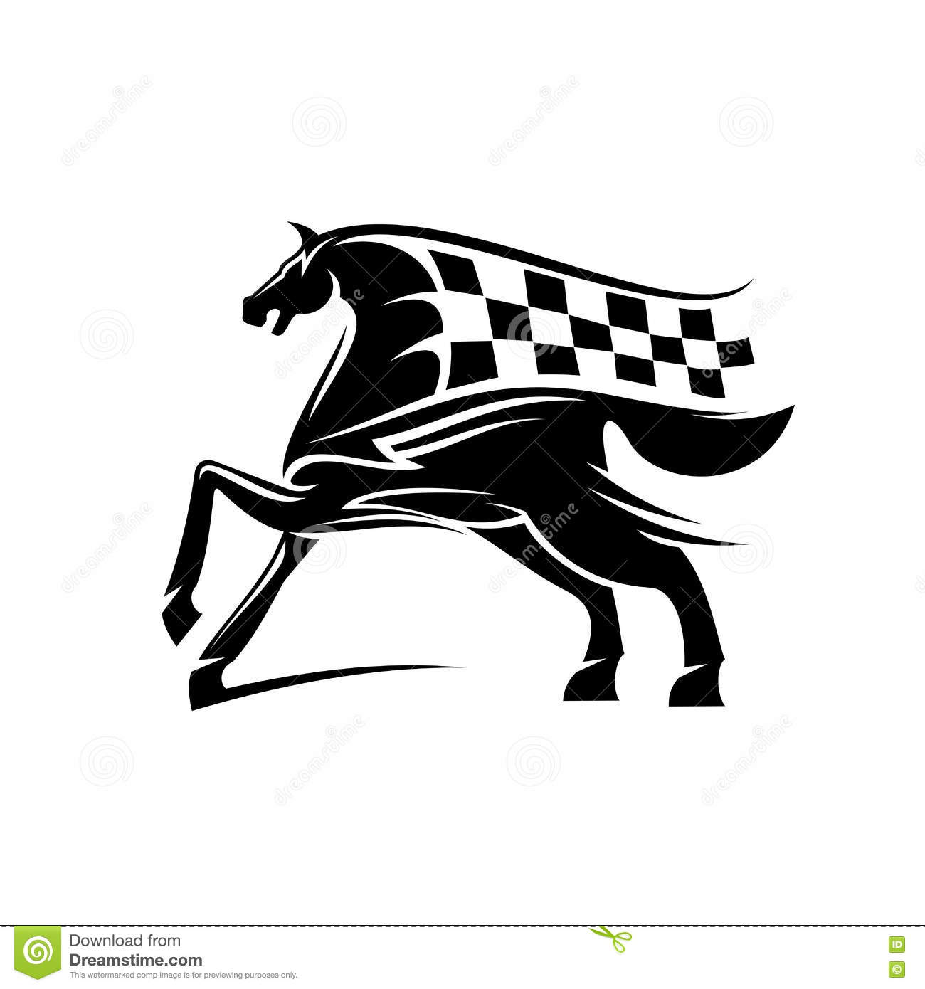 Horse With Mane As Checkered Race Flag Symbol Stock Vector