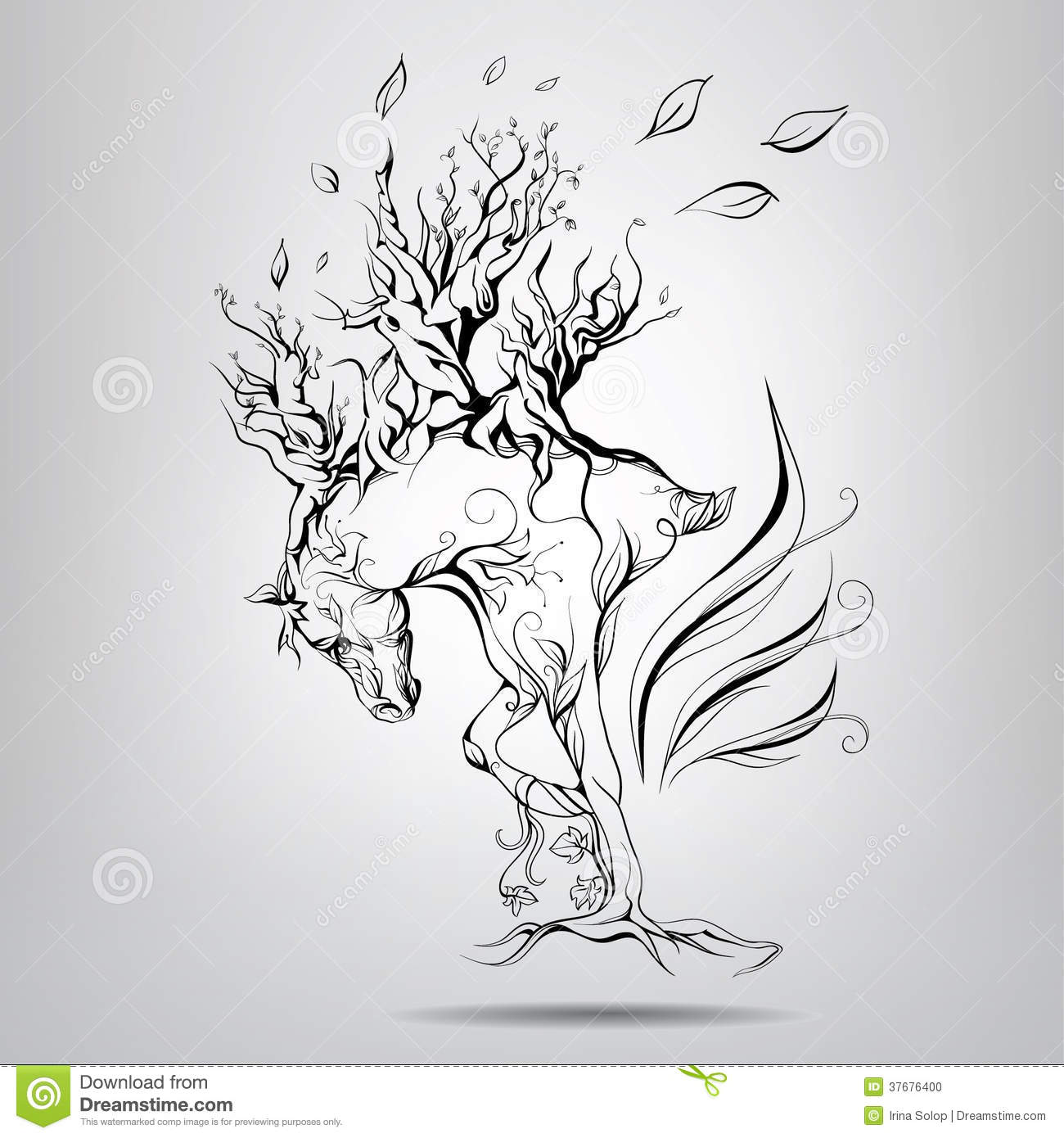 A horse with a mane of branches stock vector image 37676400 for Immagini cavalli stilizzati