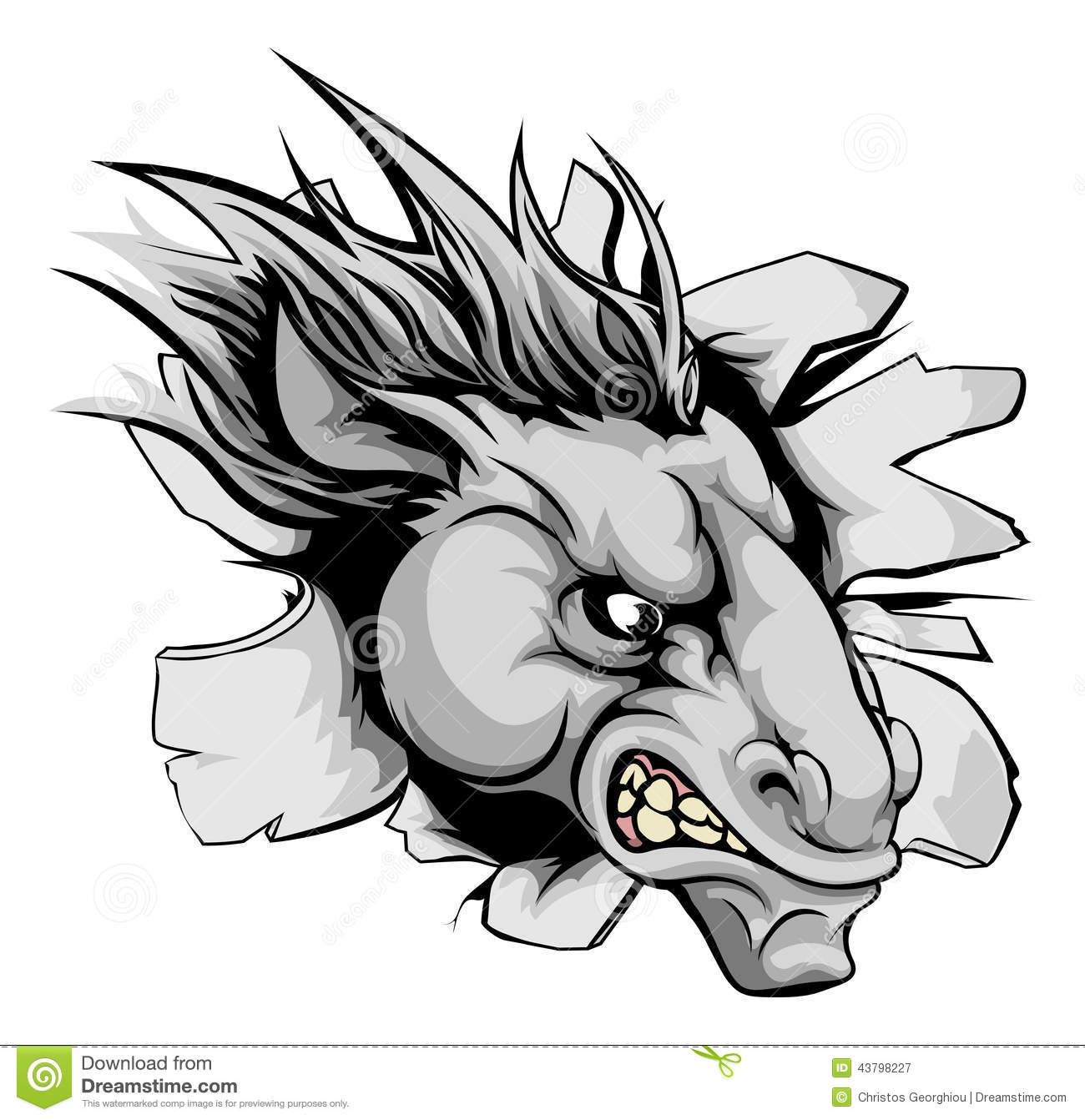 Horse Mascot Breaking Through Wall Stock Vector ...