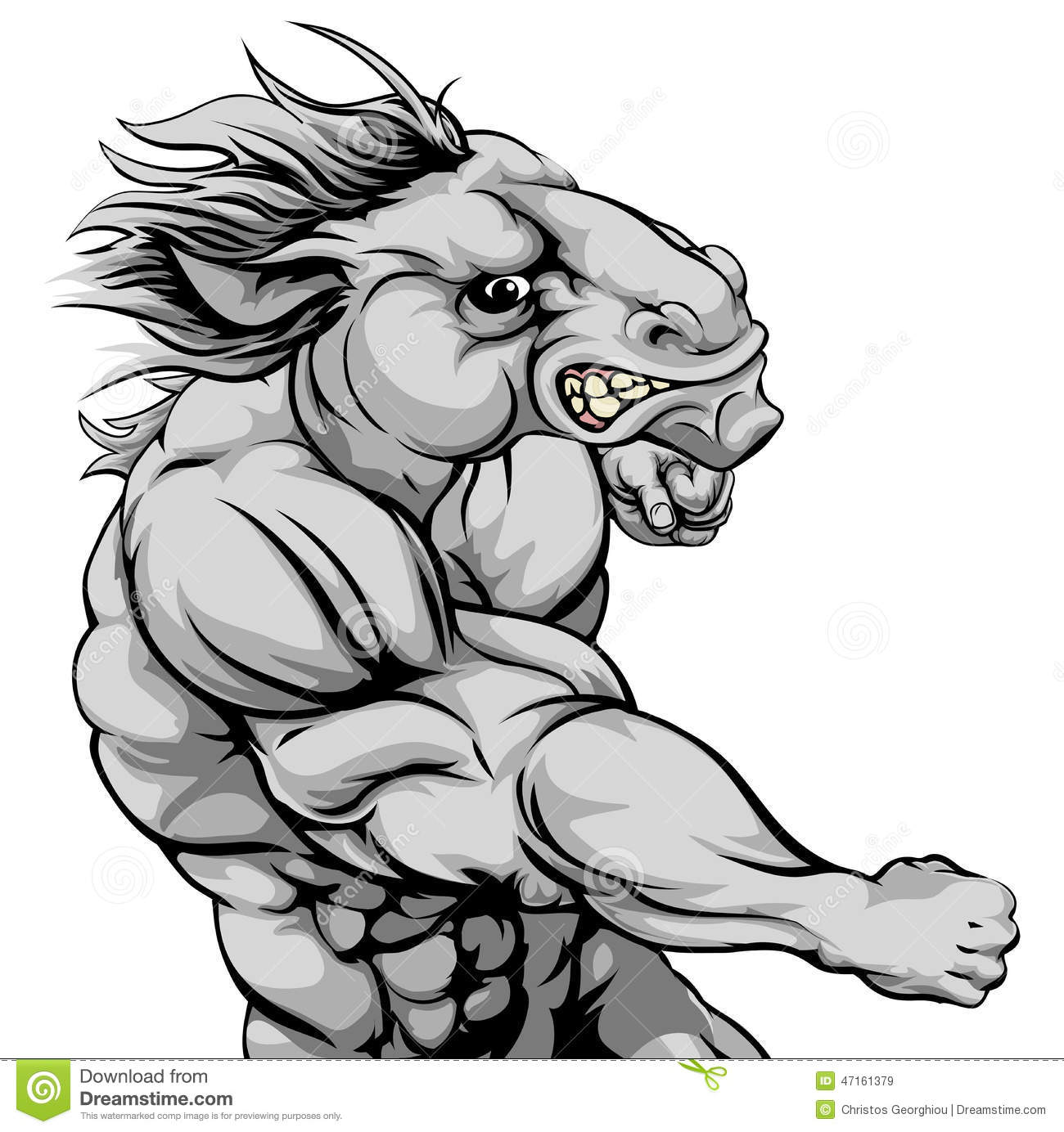 Horse Mascot Fighting Stock Vector - Image: 47161379