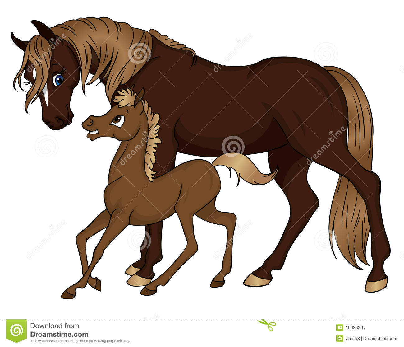 Horse Mom And Baby Illustration 16086247 Megapixl