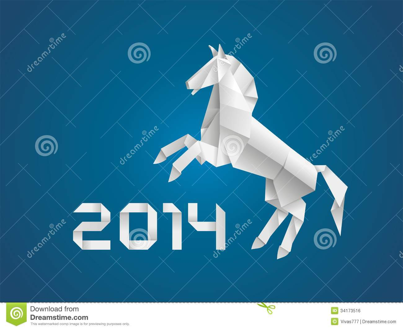 new year origami paper horse 2014 cartoon vector