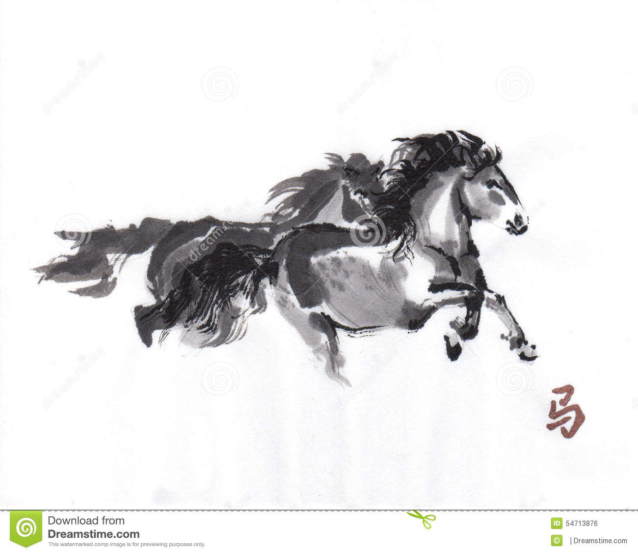 Horse Oriental Ink Painting, Sumi-e Stock Illustration ... 7 White Horses Running Painting