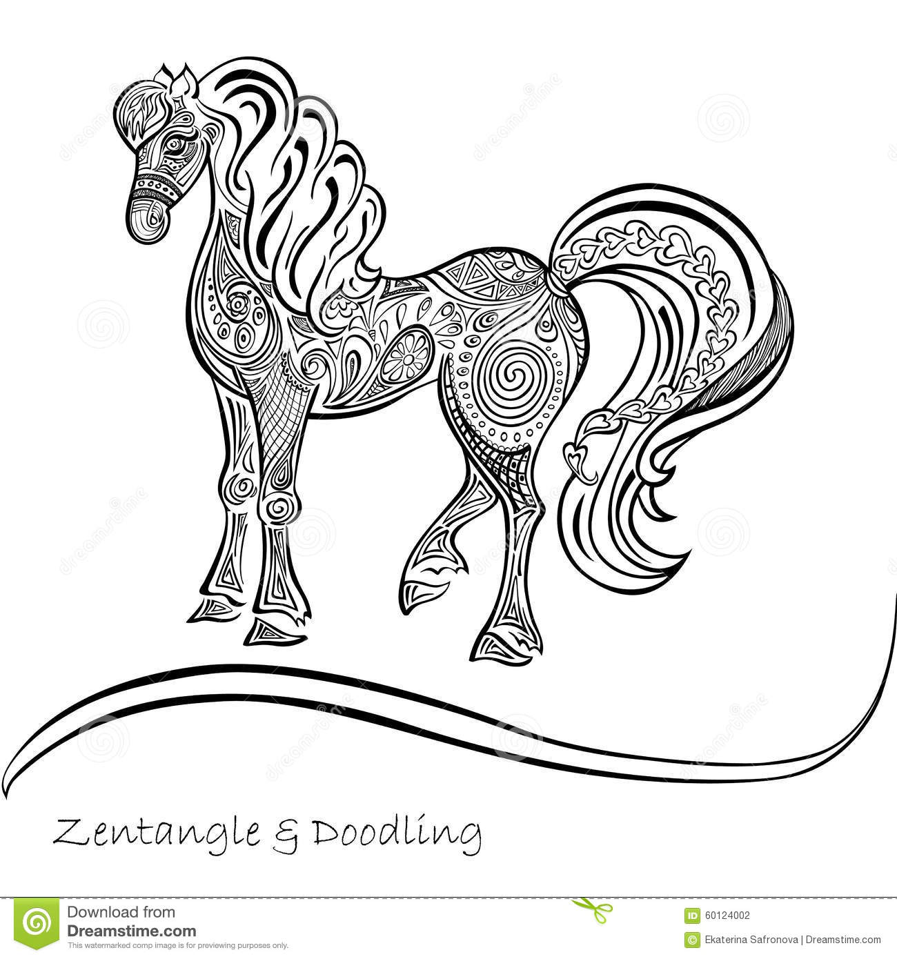 horse ornaments black and white patterns stock vector