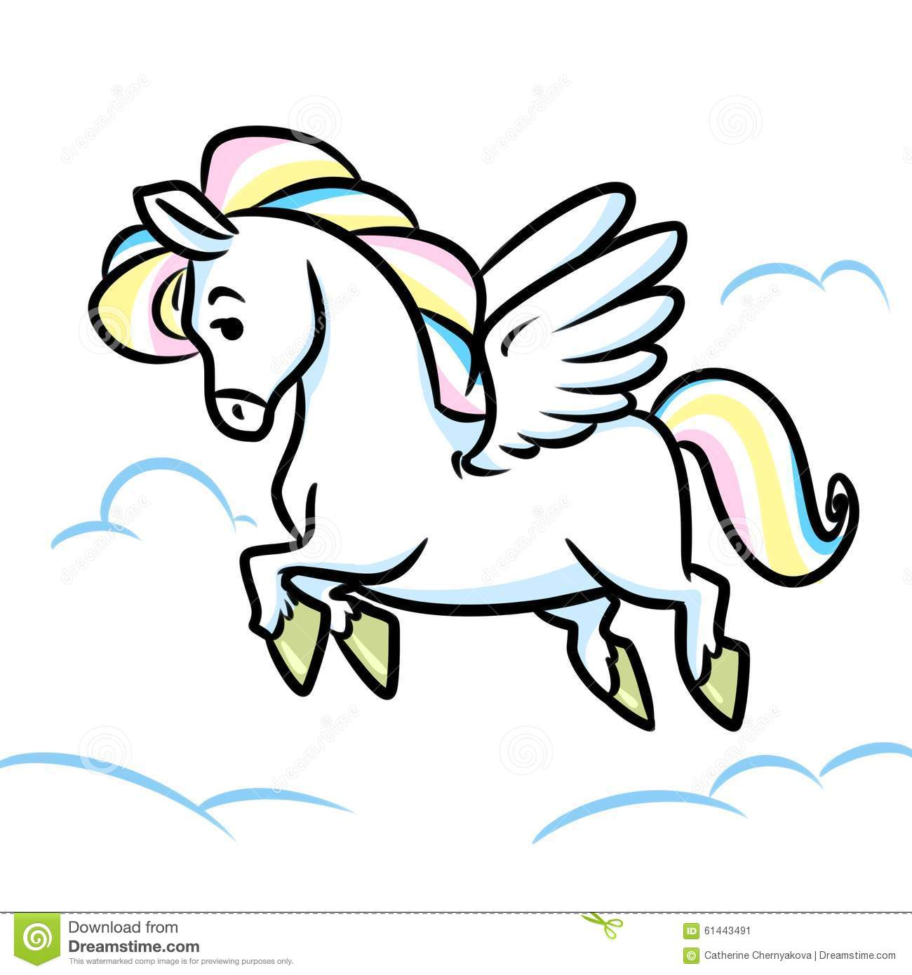 Horse Pegasus Flying Clouds Cartoon Illustration Stock