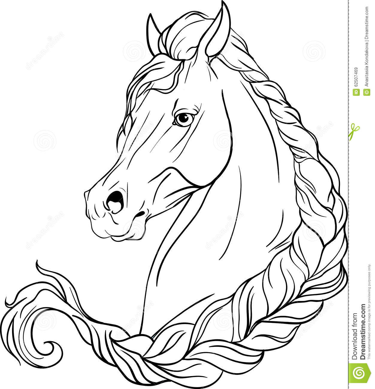 Download Horse Pigtailed Stock Vector Illustration Of Mane Mare
