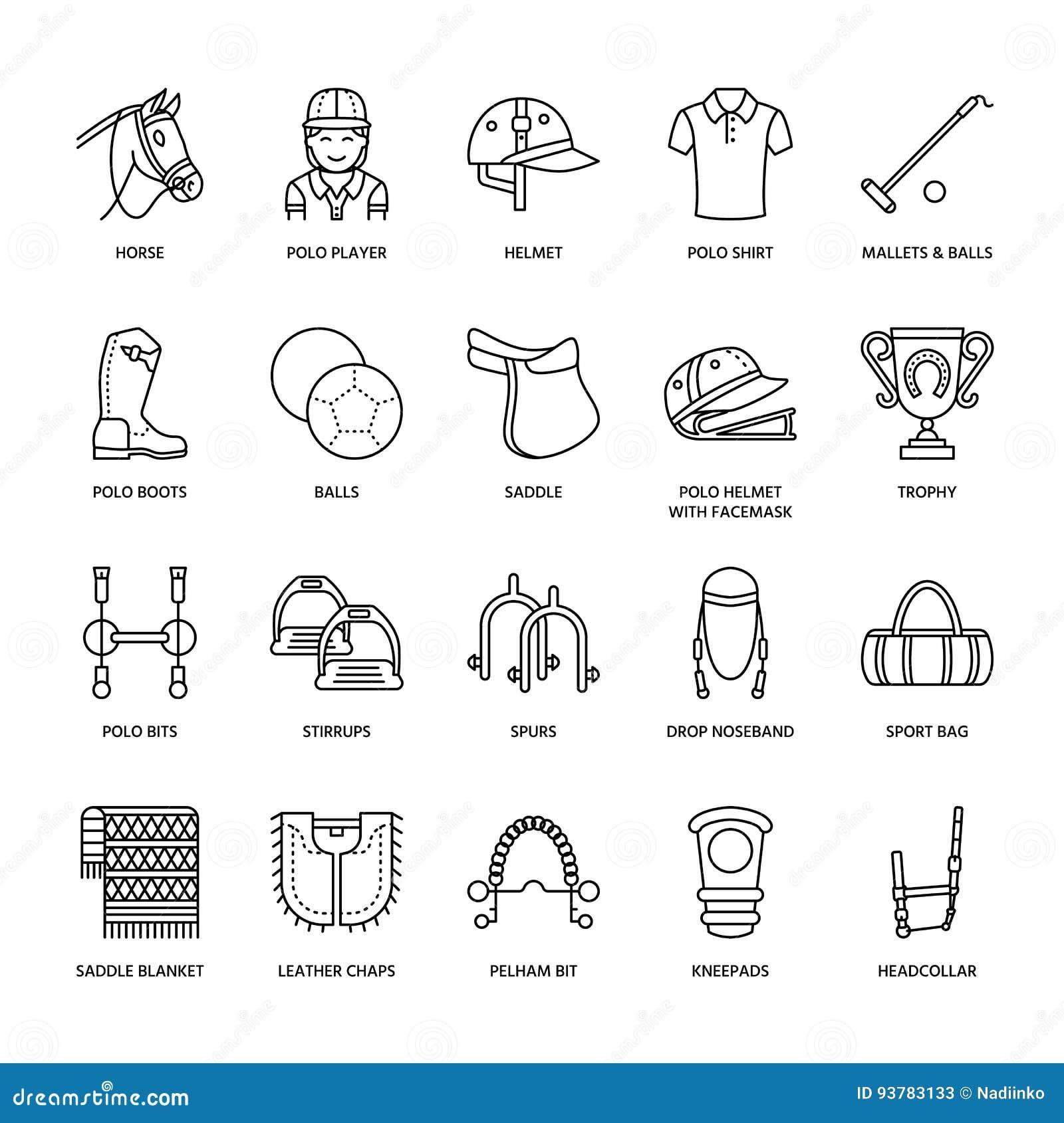 Set Of Vector Horse Equipment Icons Cartoon Vector