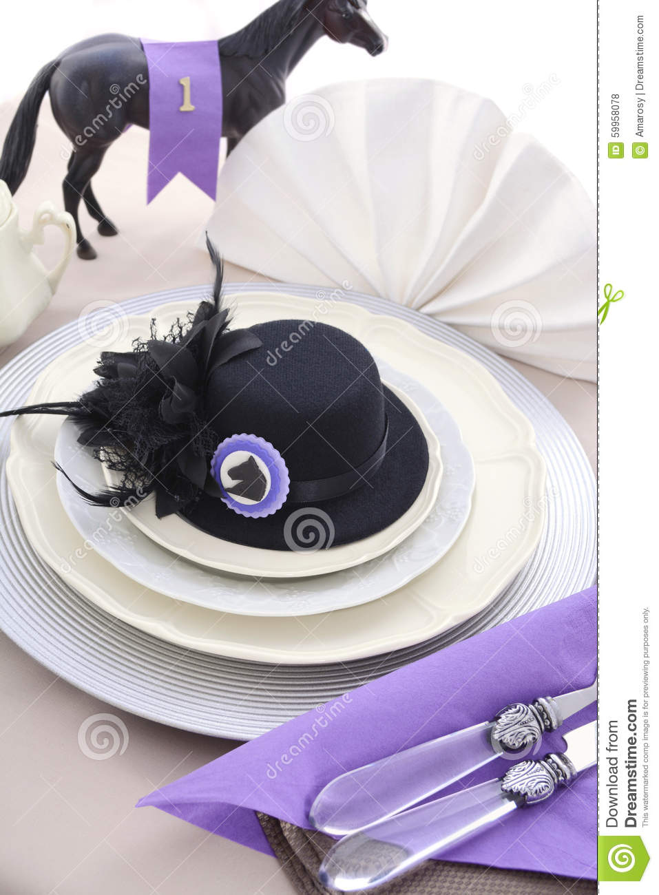Horse Race Day Ladies Luncheon Table Setting Stock Photo