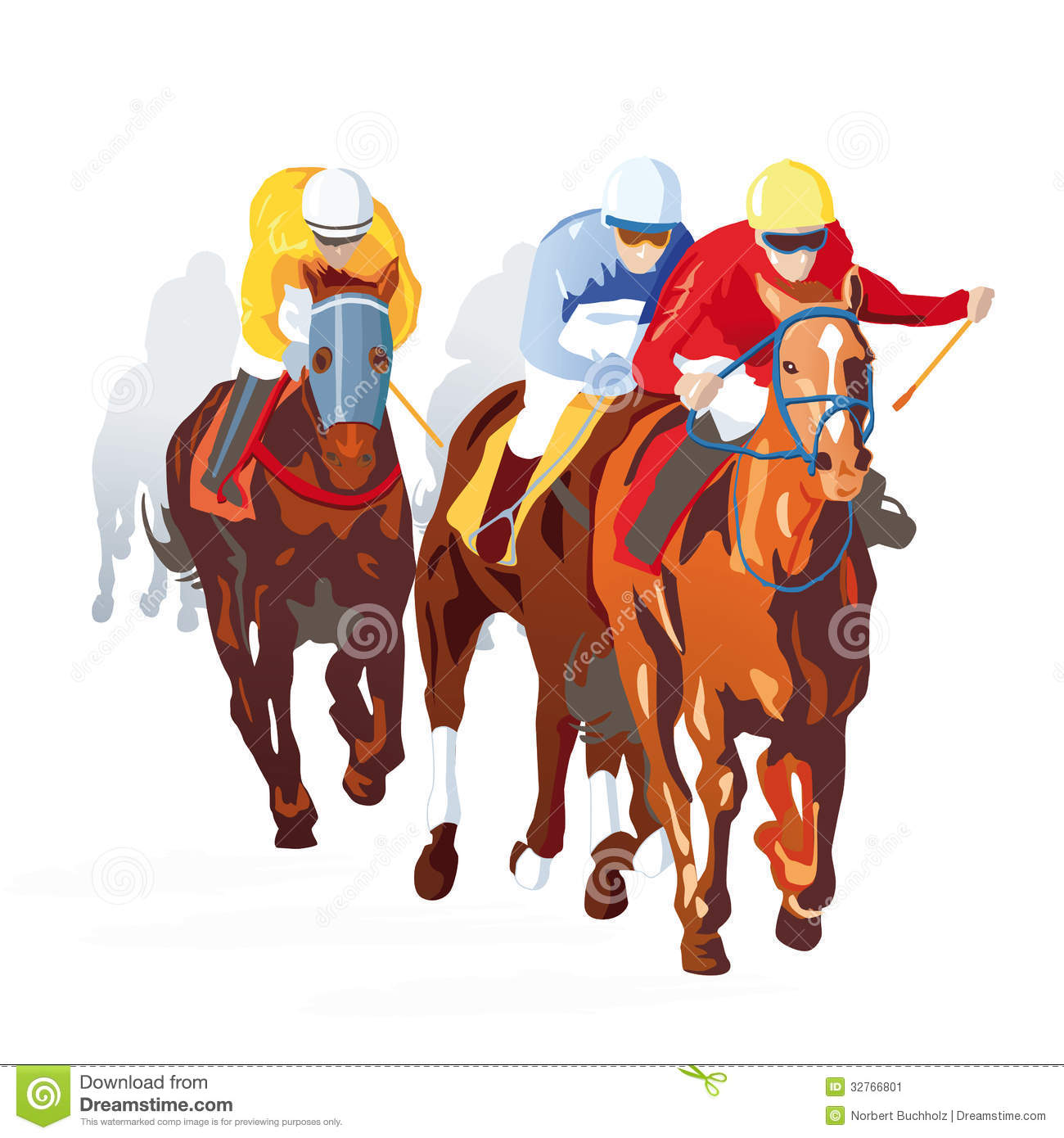 Illustration of jockeys riding horses in race, white background.