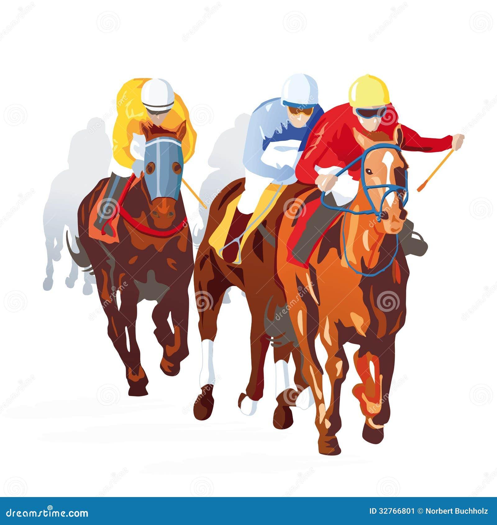 Illustration of jockeys riding horses in race, white background.