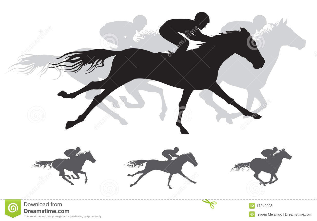 Horse Race Silhouette Gallop Stock Vector Illustration Of Competition Gallop 17340095