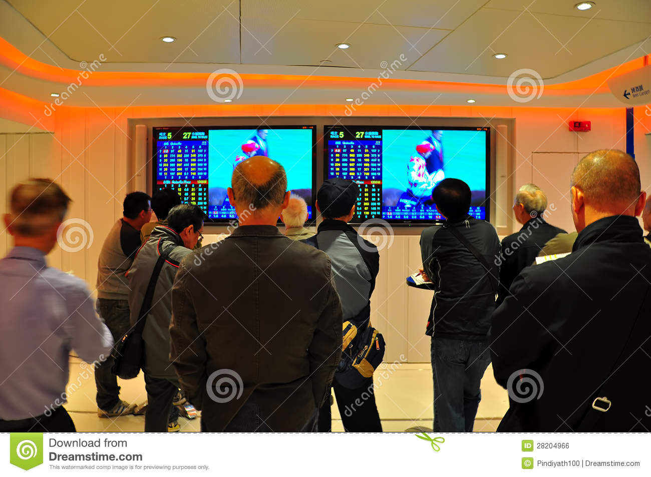 Horse racing enthusiasts viewing the horse race on television with ...