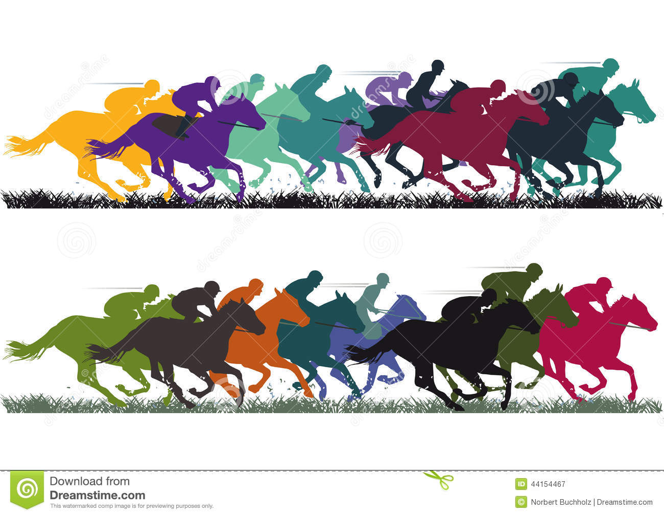 horse racing illustration with colorful horses and jockeys. .