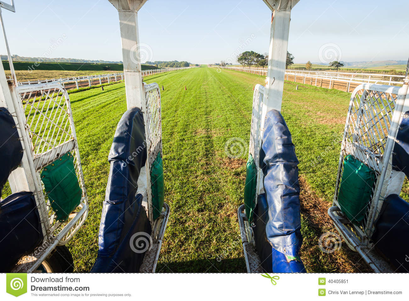 Horse Racing Inside Start Gate Track Stock Photo Image