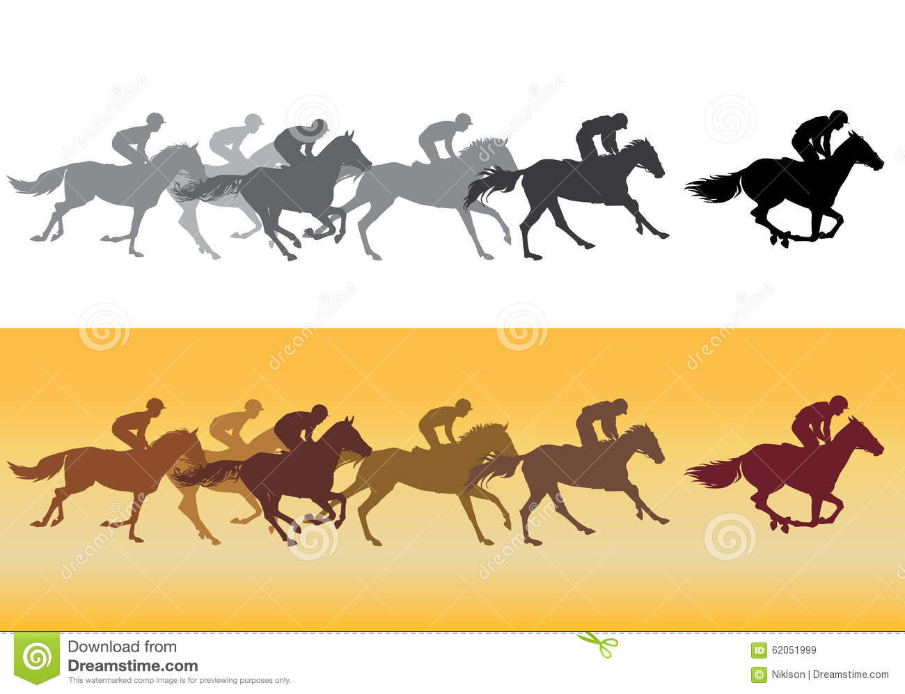 Horse Racing Silhouette Stock Vector Illustration Of Leader 62051999