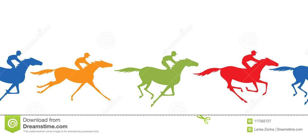 Download Horse Racing Silhouette Seamless Border And Jockey Galloping Horseback Riders With Yellow