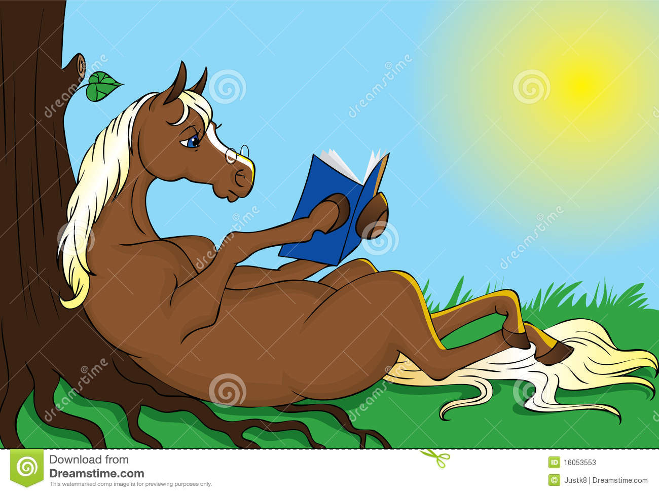 Brown horse with blond mane is relaxing under a tree out in nature and ...