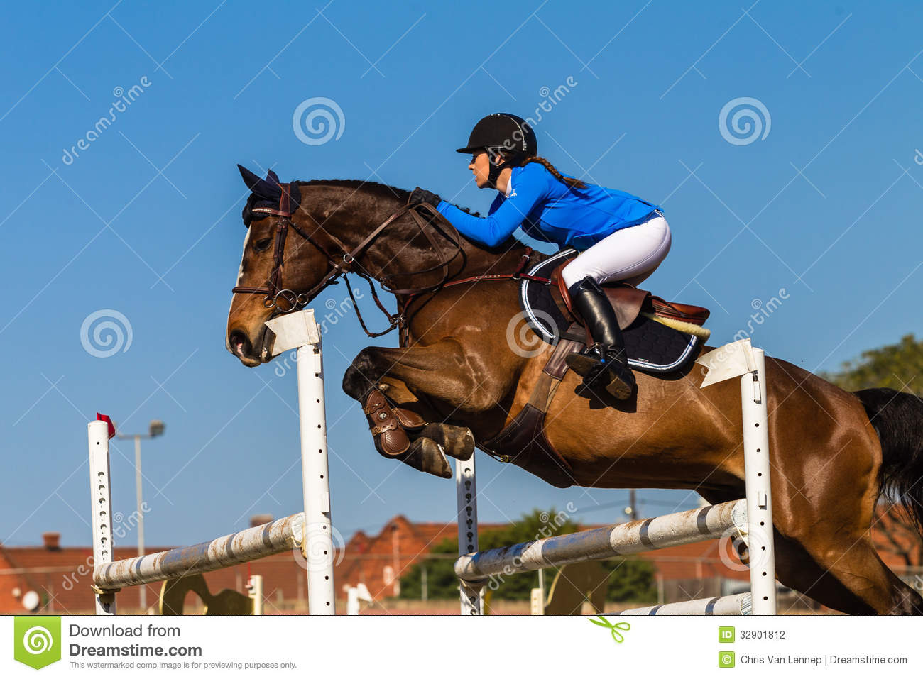 Horse Rider Jump Blue Girl Editorial Photography - Image ...