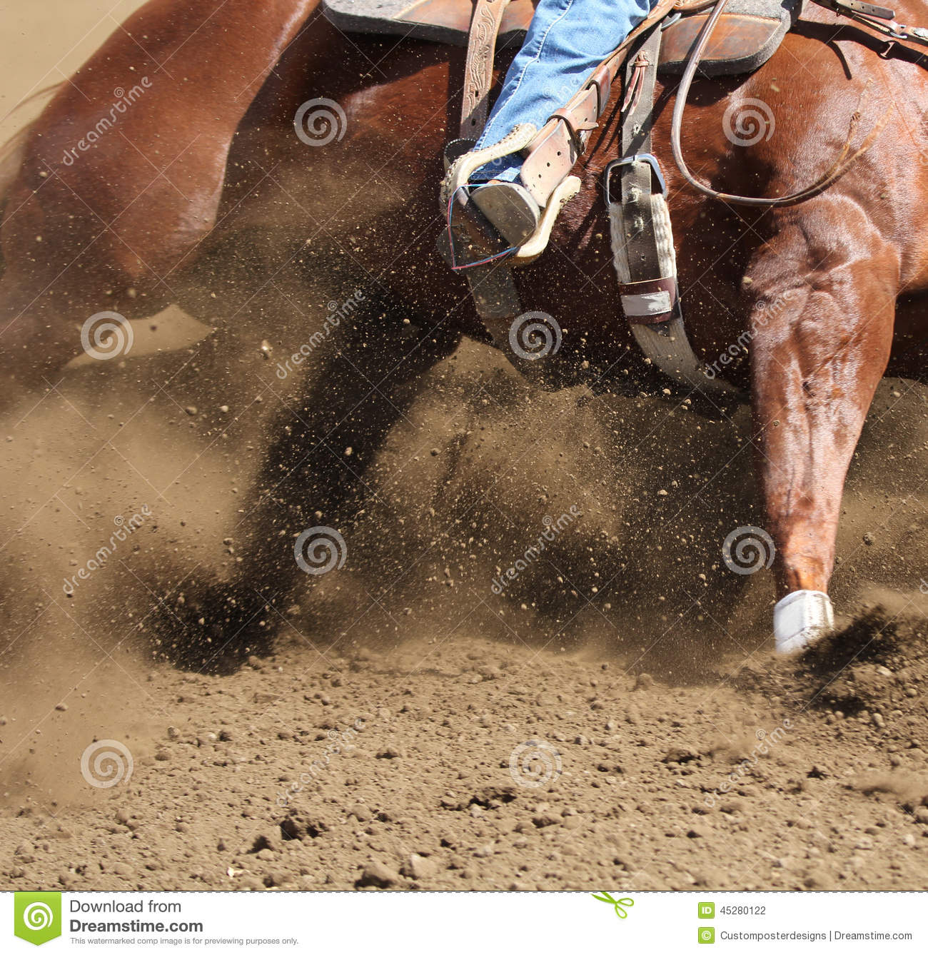 Download A Horse And Rider Moving Fast With Dirt Flying. Stock Photo - Image of gallop, action: 45280122