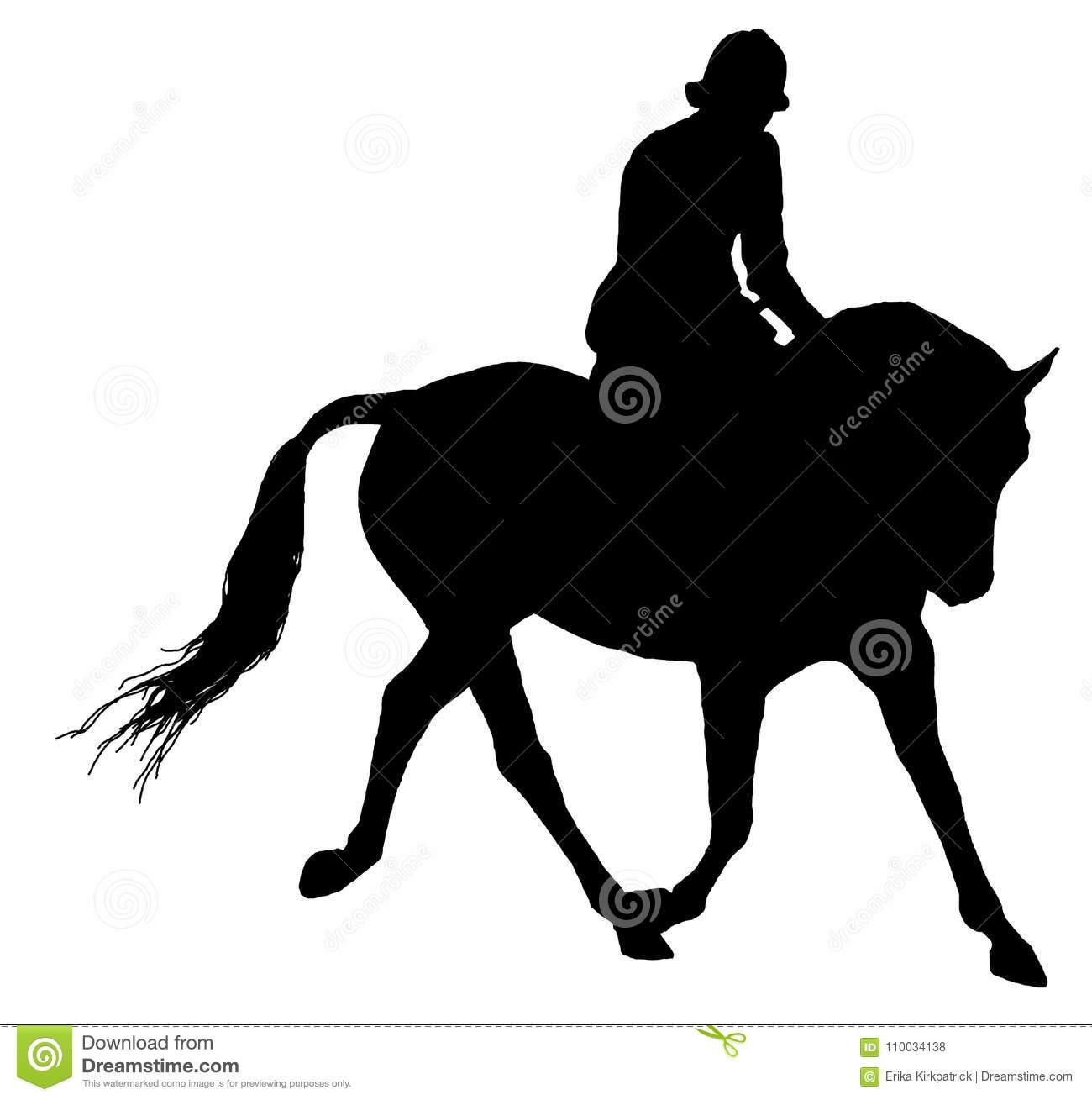 Horse And Rider Silhouette Isolated Stock Illustration Illustration Of Drawing Clipart 110034138