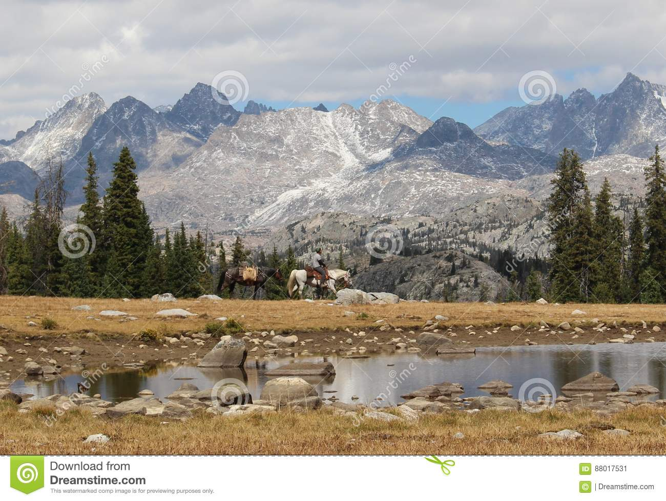 Horse Rider in Wyoming`s Wind River Range