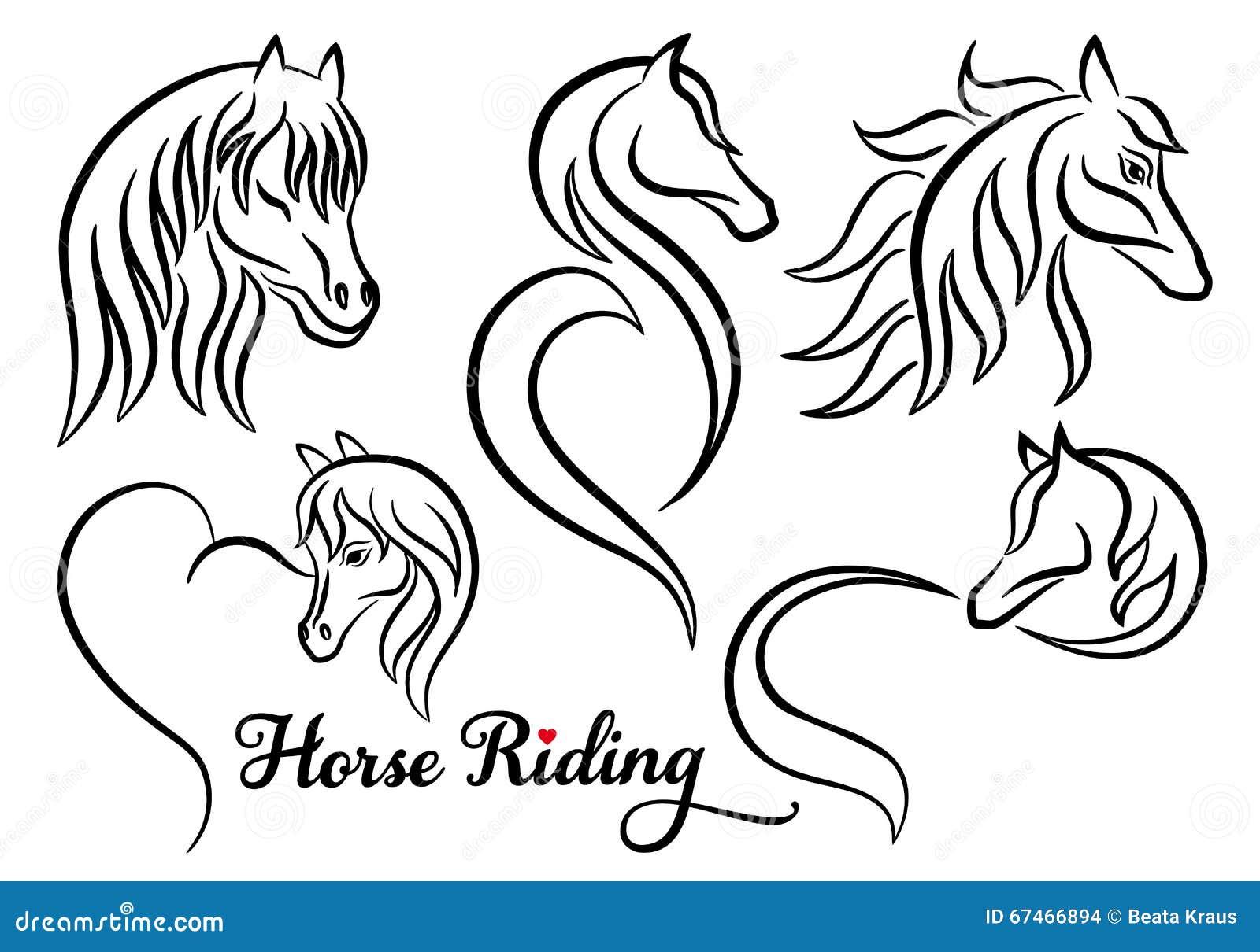 horse riding  vector set stock vector