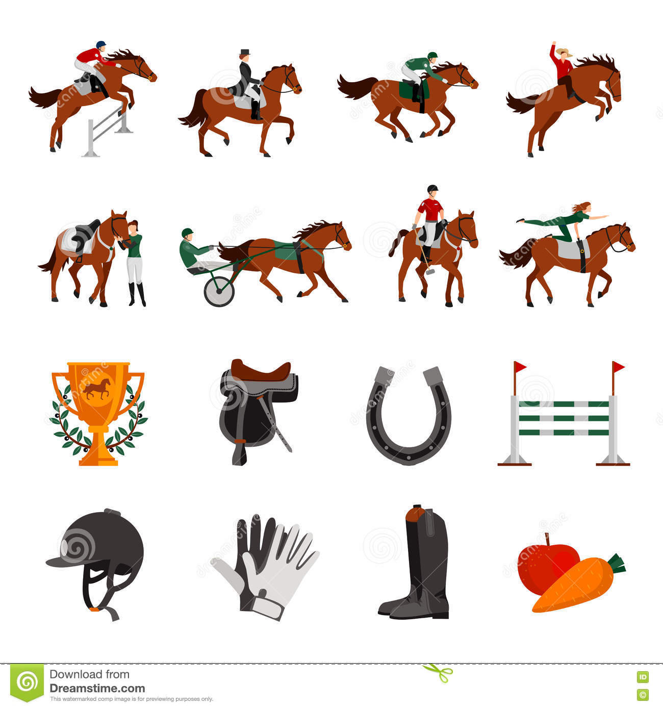 Horse Rising Sport Icons Stock Vector