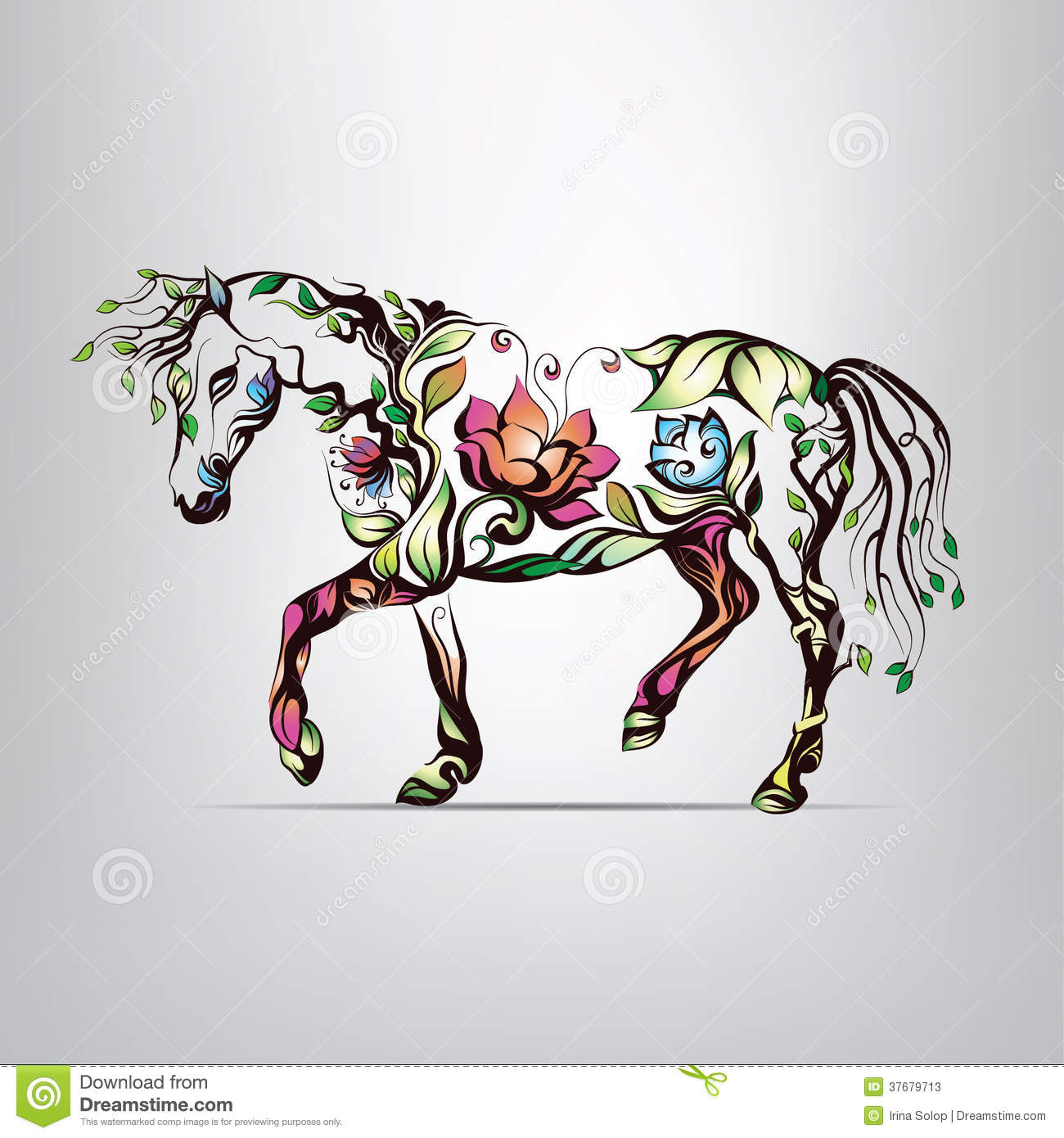 Blossom Wall Stickers Horse Silhouette Of Floral Ornament Stock Photos Image