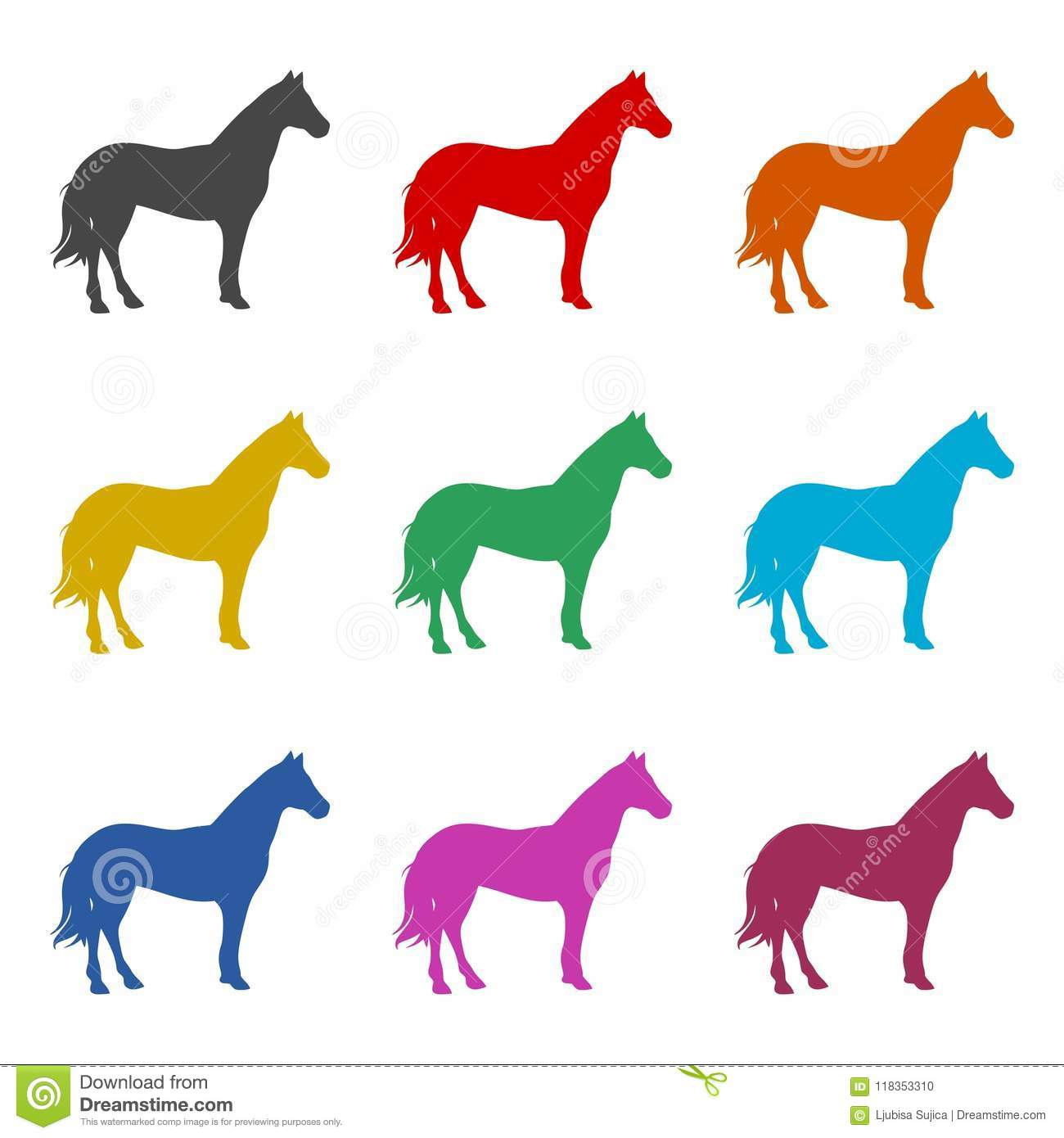 Horse Silhouette Icon, Color Icons Set Stock Vector ...