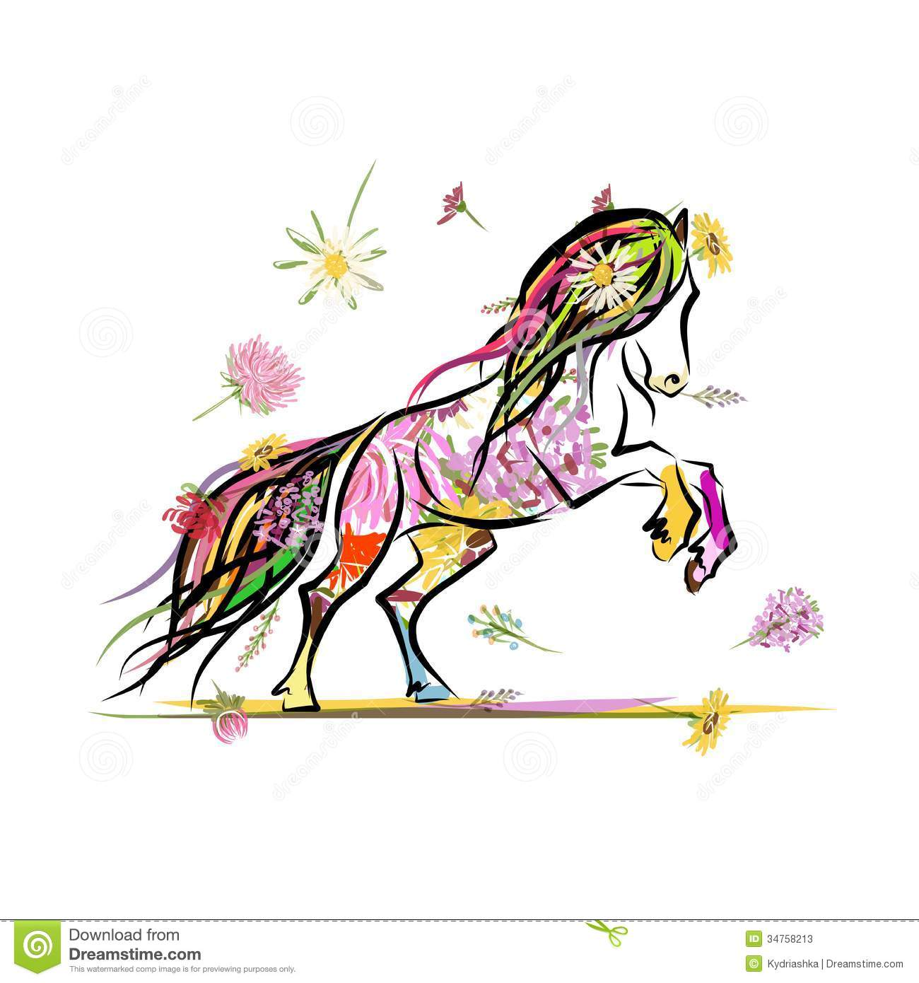 File Decoration Designs: Horse Sketch With Floral Decoration For Your Stock