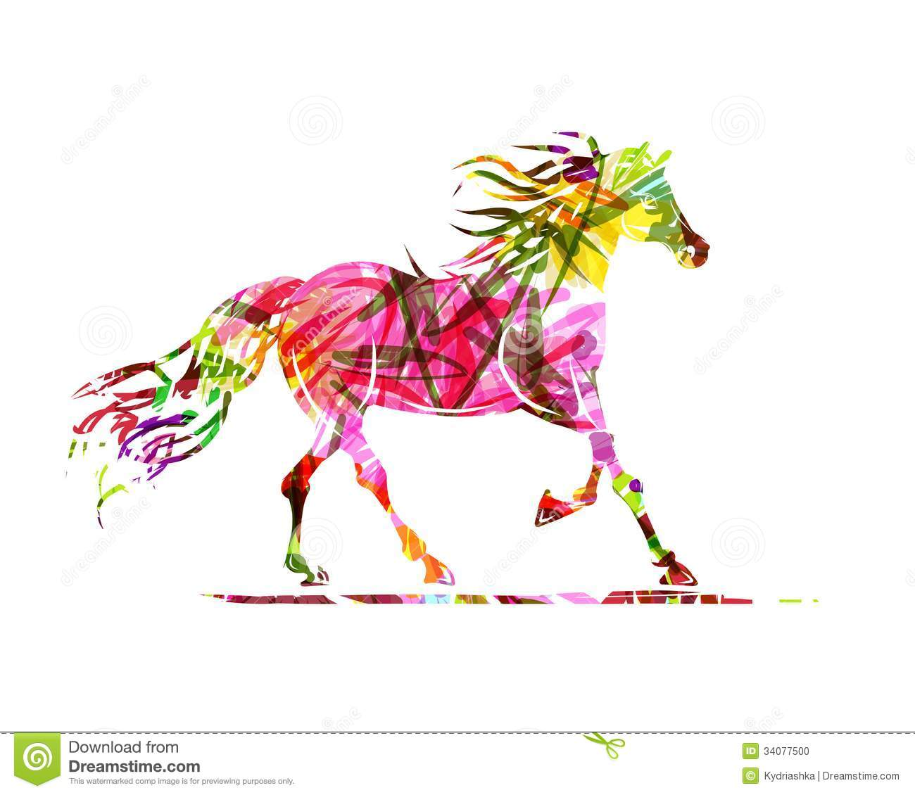 Horse Sketch With Floral Ornament For Your Design Stock Vector Illustration Of Head Beauty 34077500