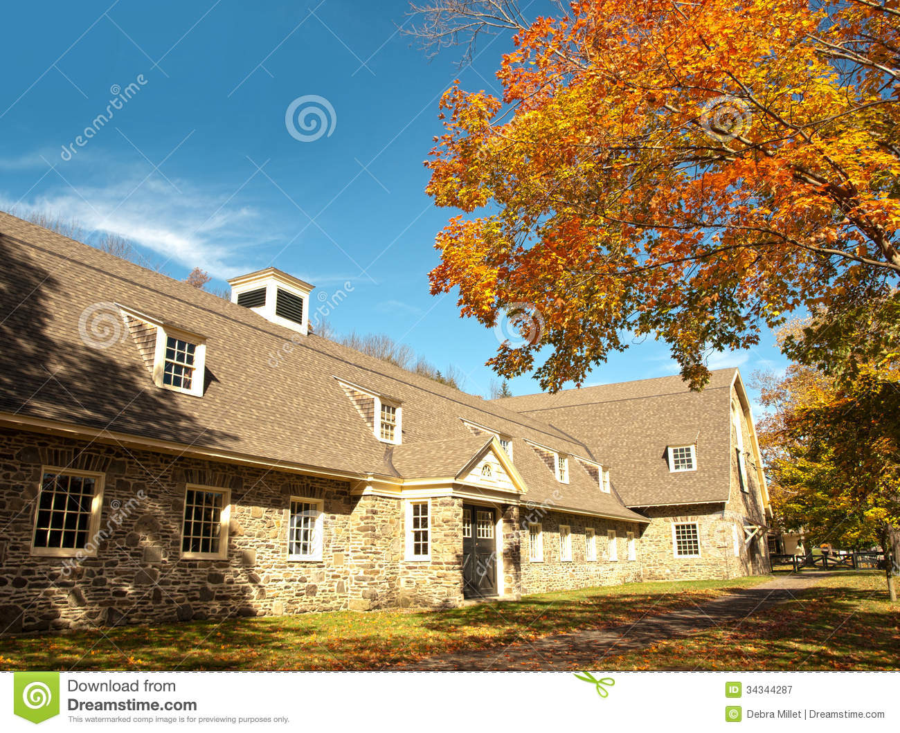 Horse Stables Stock Image Image Of Fall Stone Tree 34344287