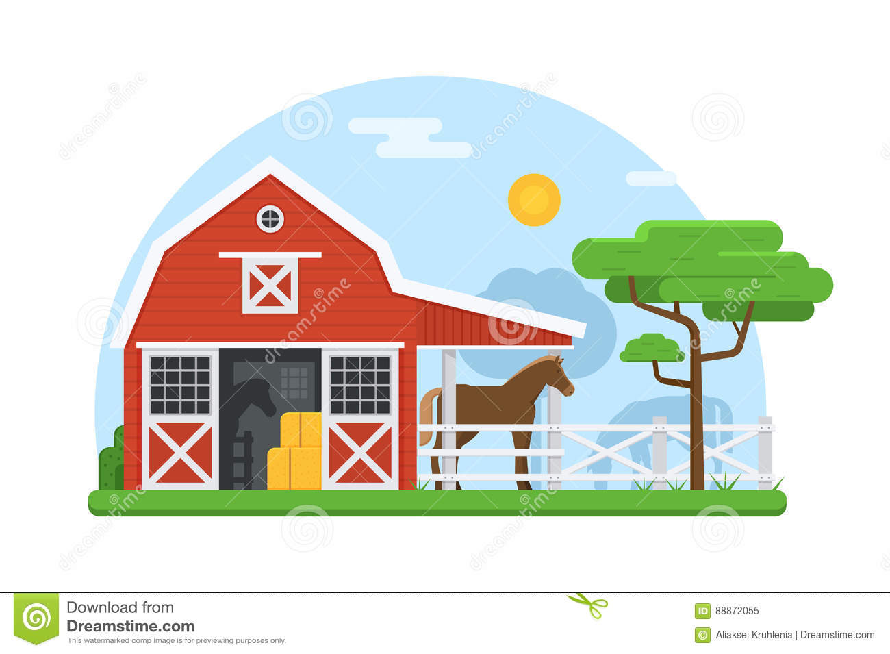 Horse Stables In Flat Design Stock Vector Image 88872055