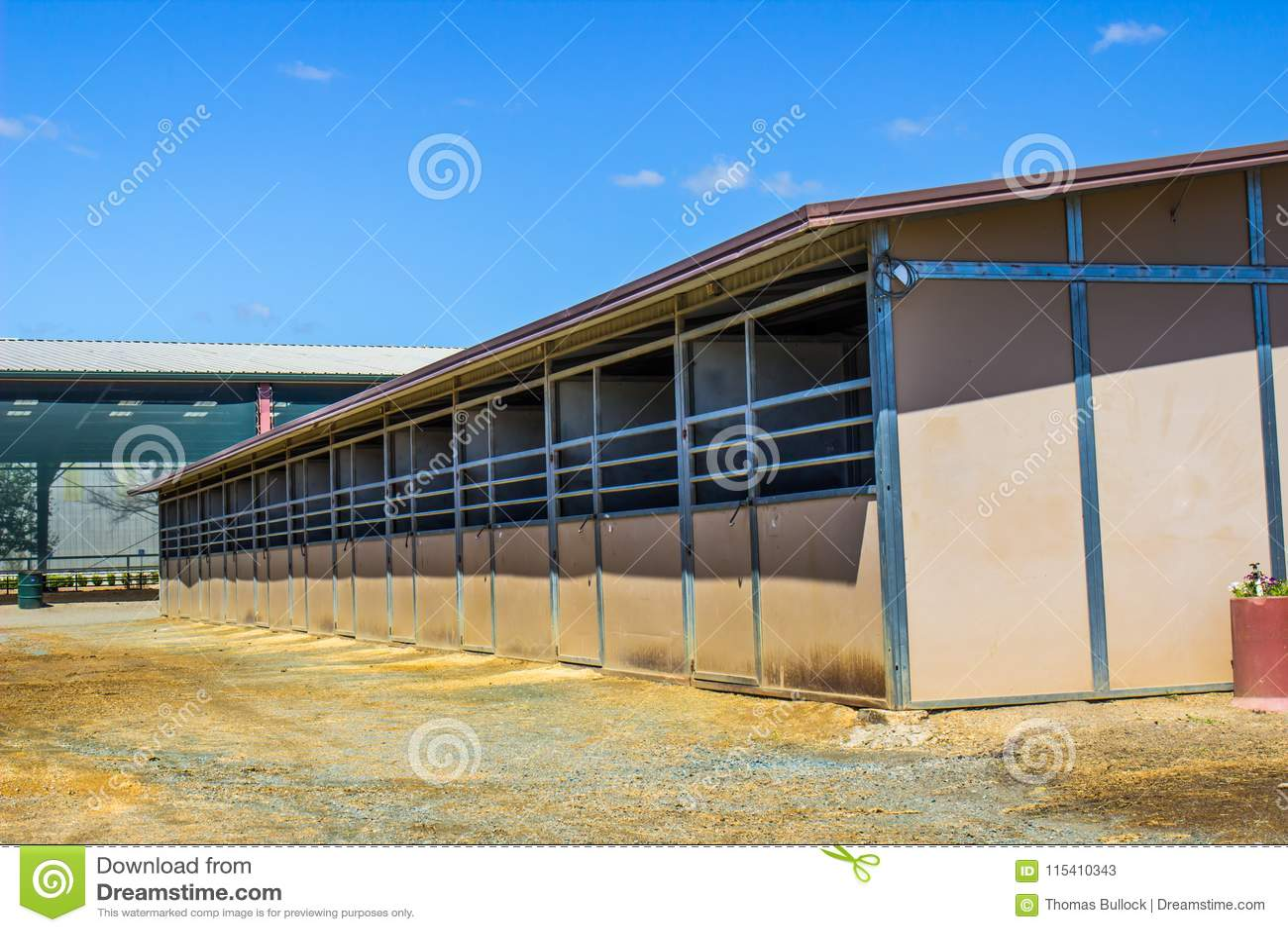 Horse Stalls Outside Equestrian Pavilion Stock Image Image Of Stalls Doors 115410343