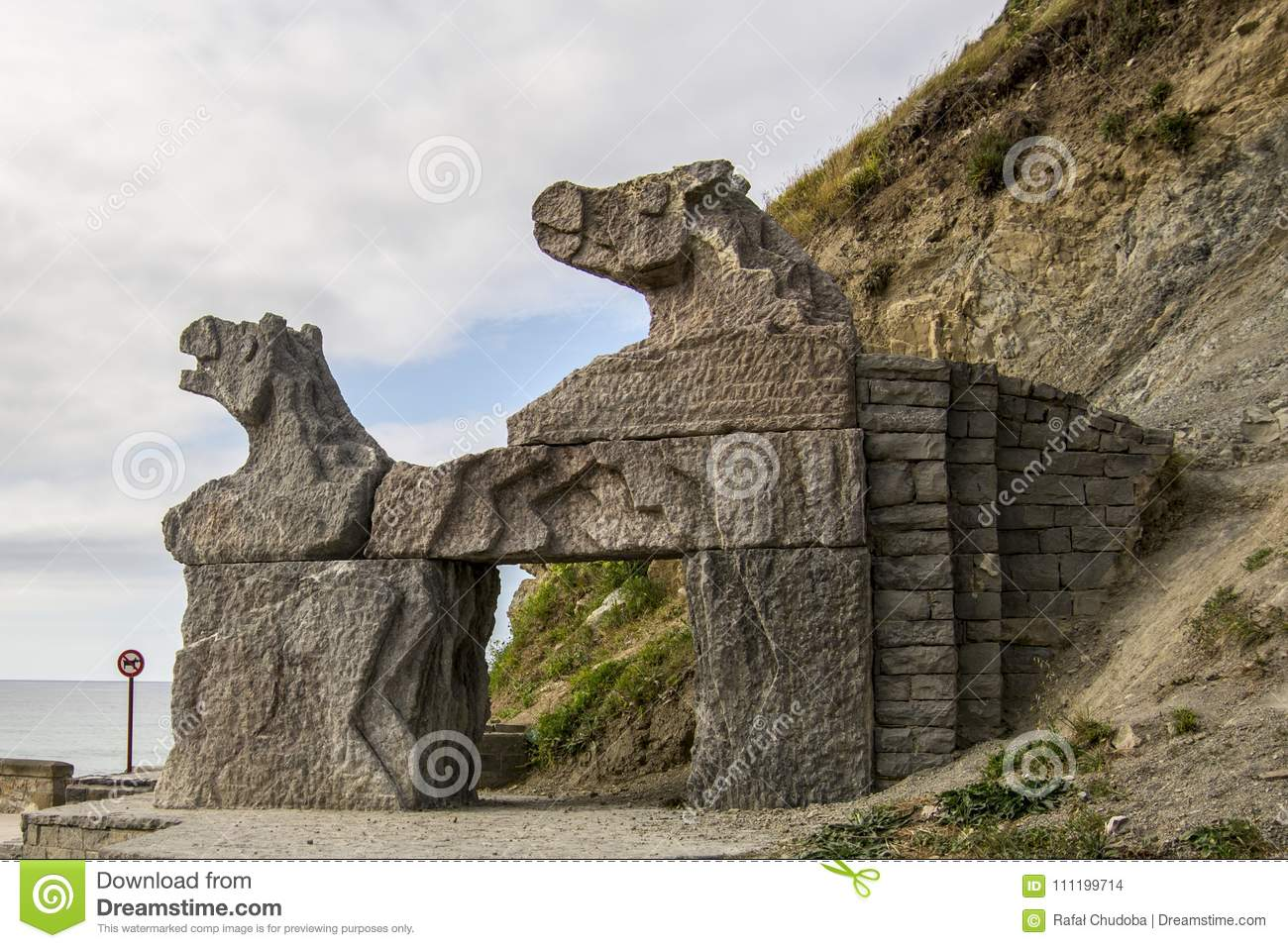 Horse Statue At Ocean Cost In Zumaia In Spain Stock Photo Image Of
