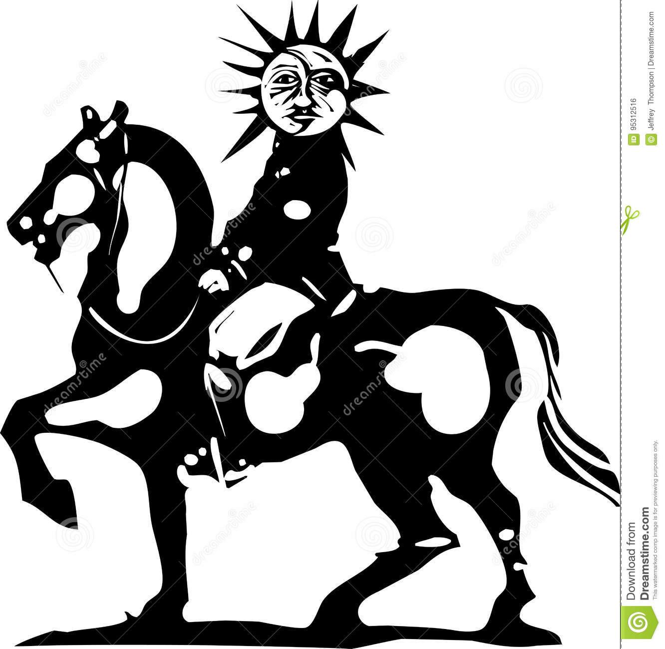 Horse With Sun King Stock Vector Illustration Of Empire 95312516