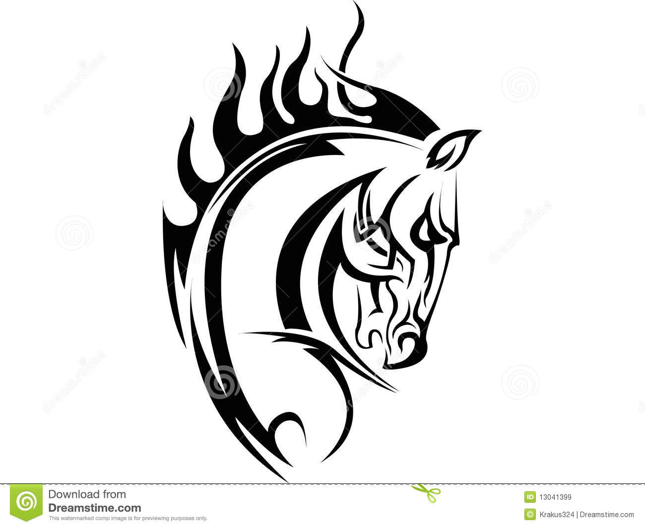 Horse Tattoo Stock Vector Illustration Of Graphic Steed 13041399
