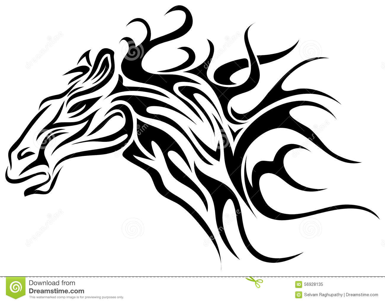 Horse Line Drawing Tattoo : Horse tattoo stock vector image