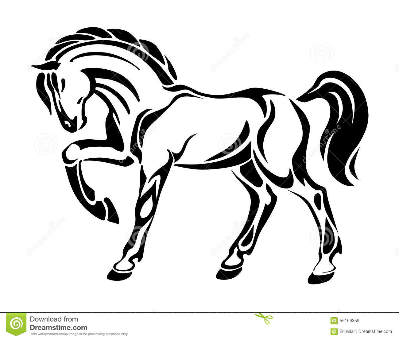Horse tattoo stylized graphic vector drawing stock for Immagini vector