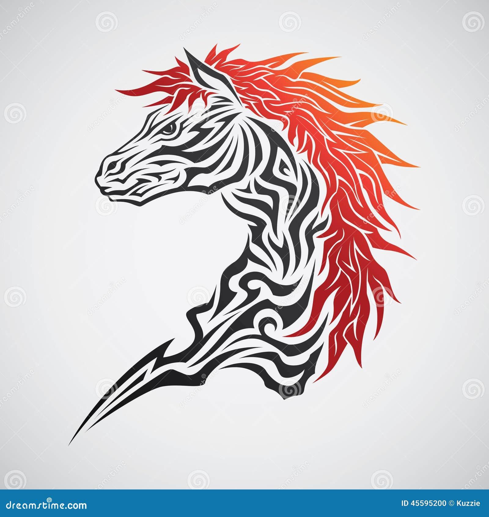 Tribal horse head tattoo cartoon vector cartoondealer for Thoroughbred tattoo lookup