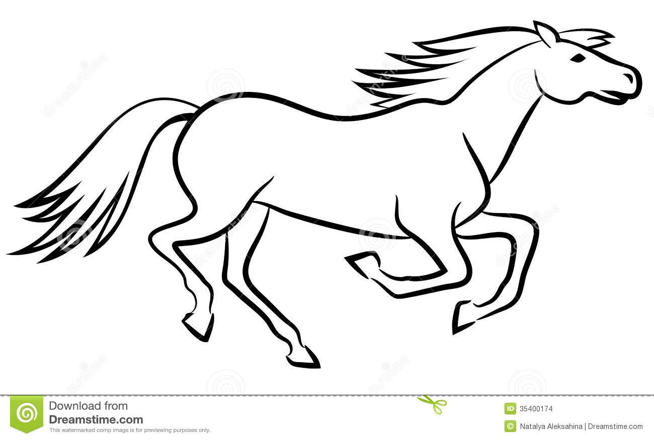 Horse Vector Outline Stock Vector Illustration Of Mare 35400174