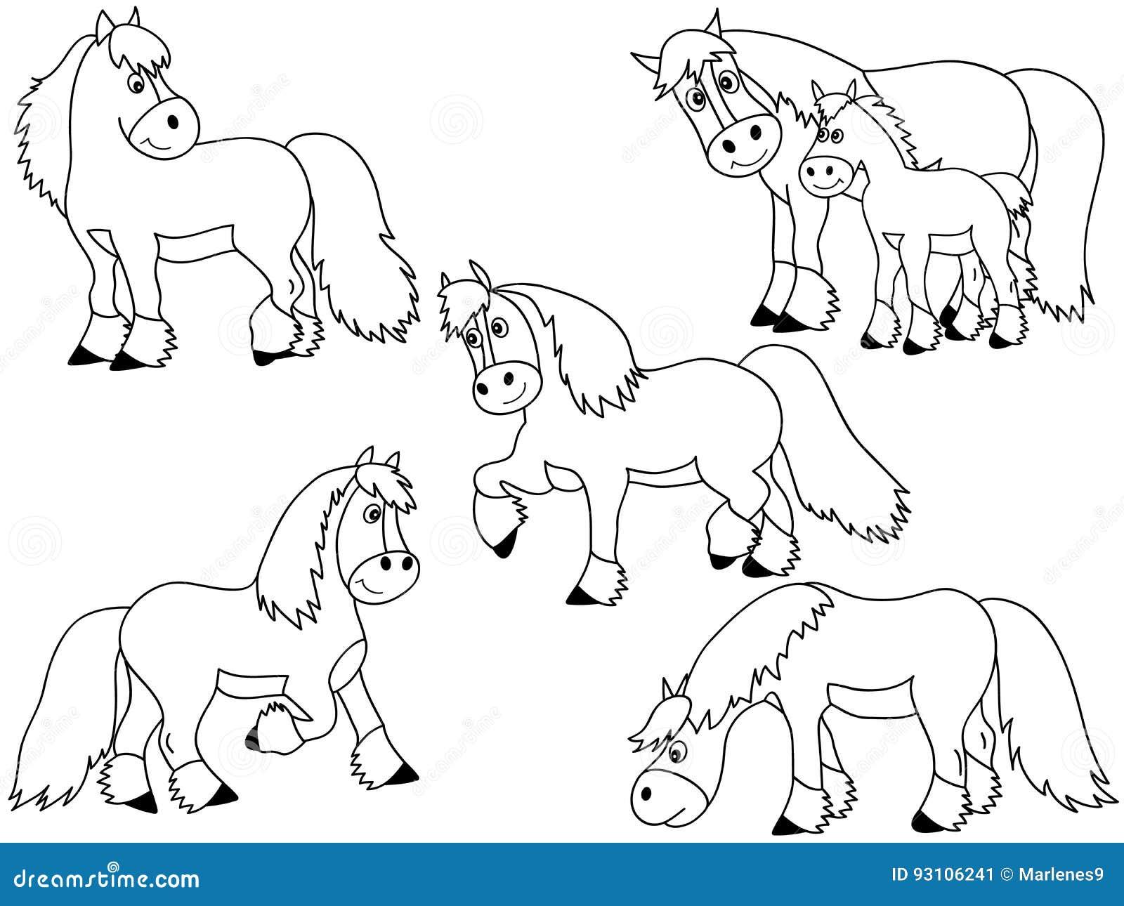 Horse Vector Set Stock Vector Illustration Of Eyes Clipart 93106241