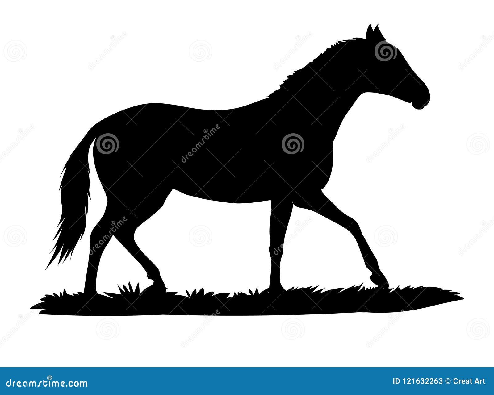 Horse Walking Silhouette Vector Animal Illustartion Stock Vector Illustration Of White Pony 121632263