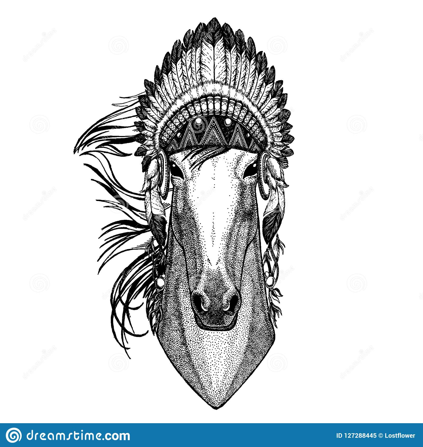 Horse Wild Animal Wearing Inidan Headdress With Feathers Boho Chic Style Illustration For Tattoo Emblem Badge Logo Stock Vector Illustration Of Indian Gypsy 127288445