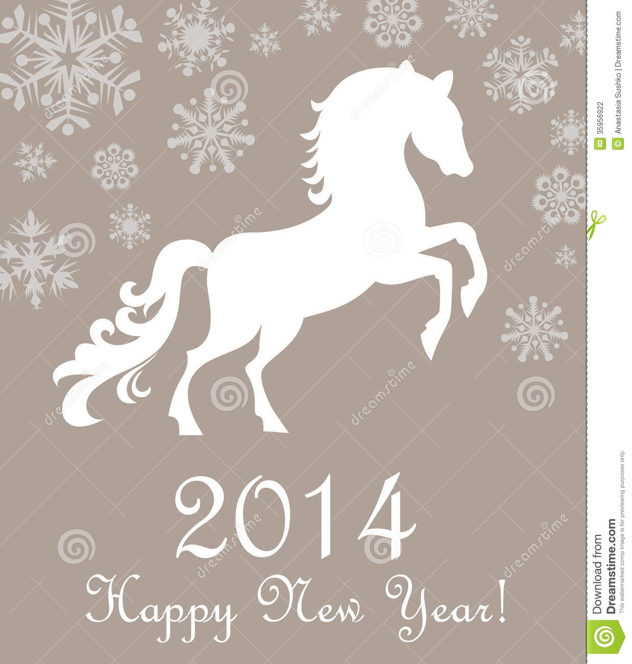 Horse 2014. Winter Christmas Card. Stock Photography - Image: 35956922