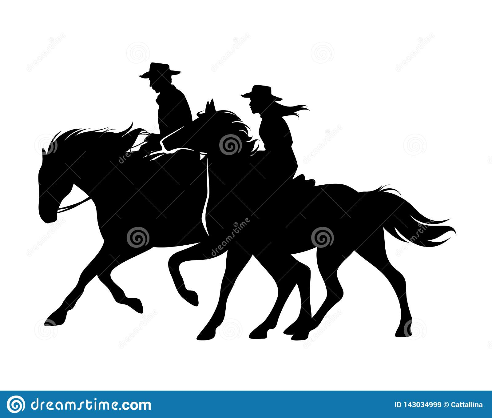 Cowboy And Cowgirl Riding Horses Black Vector Silhouette Stock Vector Illustration Of Horse Cowboy 143034999